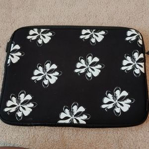 Neoprene Laptop Sleeve- with White Floral Print